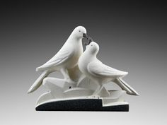 French Art Deco Ceramic Couple of Pigeons at Sainte-Radegonde 1935 - http://www.artdecoceramicglasslight.com/makers/sainte-radegonde/ref-11505---french-art-deco-ceramic-couple-of-pigeons-at-sainte-radegonde-1935