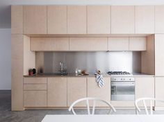This maisonette recently converted into minimalist home around a plywood kitchen is a great example of successful renovation and extension Light Wood Cabinets, Light Wood Kitchens, Wood Kitchen Cabinets, Plywood Cabinets, White Cabinets, Kitchen Countertops, Plywood Boxes, Plywood Furniture, Plywood Kitchen