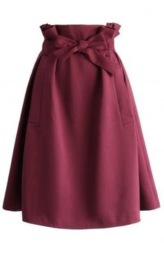 Sassy Tie-bow Midi Skirt in Burgundy - Retro, Indie and Unique Fashion