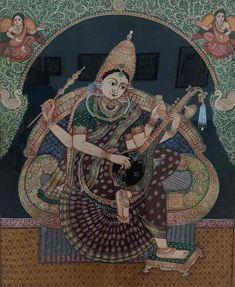 Mysore Painting, Tanjore Painting, Yashoda Krishna, Saraswati Devi, Buddha Art, Goddess Art, Photography Poses For Men, God Pictures, Traditional Paintings