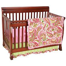 Paisley Splash 3-Piece Crib Bedding - Pink