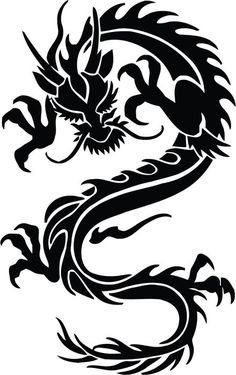Chinese dragon in black Wall Decal - Wall decals Dragon Silhouette, Silhouette Tattoos, Celtic Tattoos, Tribal Dragon Tattoos, Dragon Tattoo For Women, Mayan Tattoos, Polynesian Tattoos, Marquesan Tattoos, Tattoos With Meaning