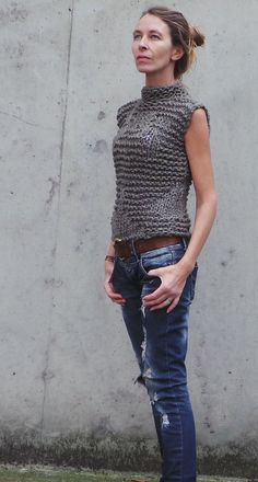Brown+khaki++Bamboo++tank/vest+by+ileaiye+on+Etsy
