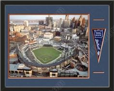 Detroit Tigers Comerica Park Aerial View Stadium Detroit Tigers Team Color Double Matting Detroit Tigers Team Mini Pennant Quality Black Frame & Comes ready To Hang Beautifully Framed And Must For Any Detroit Tigers Fan!