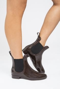 Zurich Rain Booties #accessories #booties #brown #chocolate #elastic #gore #patent #puddle-jumpers #rain #rubber #shoes #slick #wellies #women #womens