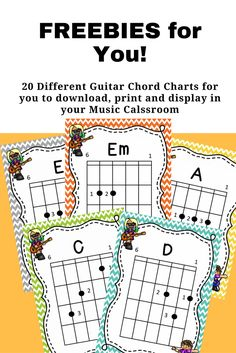 20 FREE printable Guitar Chord Charts by Jooya Teaching Resources. These are perfect for the young musician to help them remember chord formations and placement on the guitar. Five different backgrounds to print and display in your classroom. Guitar Lessons For Kids, Online Guitar Lessons, Guitar Lessons For Beginners, Music Lessons, Piano Lessons, Music Guitar, Guitar Chords, Playing Guitar, Acoustic Guitar