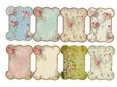 Use of vintage wallpaper styles as background for print Vintage Tags, Vintage Labels, Vintage Sewing, Vintage Floral, Printable Labels, Printable Paper, Printables, Etiquette Vintage, Shabby Chic