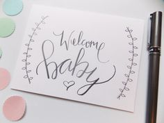 Welcome Baby Card Baby Shower Card by happydoodlesbykatie