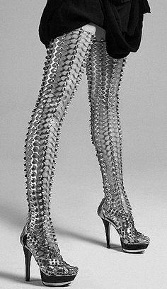 Chain-mail thigh high boots