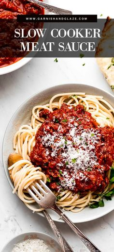 Slow Cooker Spaghetti Meat Sauce is a flavorful ground beef and sausage loaded pasta sauce that you'll want to eat by the spoonful! Best Slow Cooker, Slow Cooker Recipes, Italian Recipes, Crockpot Recipes, Cooking Recipes, Slow Cooker Spaghetti Sauce, Homemade Spaghetti Sauce, Slow Cooking, Sweet Italian Sausage