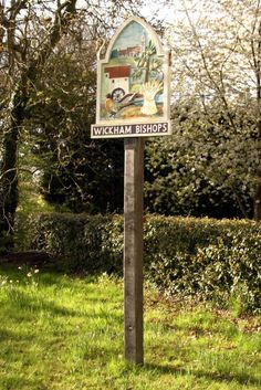Wickham Bishops village sign by Stuart Vickers, via Geograph English Village, Decorative Signs, Store Fronts, Shop Signs, Prehistoric, Family History, Old Photos, Signage, Britain
