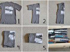 Learn how to actually fold and store t-shirts so they take up less space — and so you can see them all at a glance. | 18 Ways To Actually Keep Your Closets Organized
