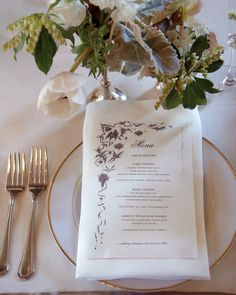 A friend made the dinner menus with decorative elements borrowed from a 20th-century American restaurant.
