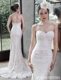 Lovely geometric lace wedding dress, Fredricka by Maggie Sottero.