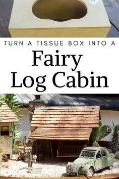 How to make a desert fairy garden and log cabin using a wooden tissue box. #DesertFairyGarden #FairyLogCabin #ACraftyMix #TissueBoxRepurpose Diy Home Crafts, Easy Crafts For Kids, Diy Home Decor, Tissue Box Holder, Tissue Boxes, Wood Sealer, Barrel Planter, Unfinished Wood, Wood Blocks