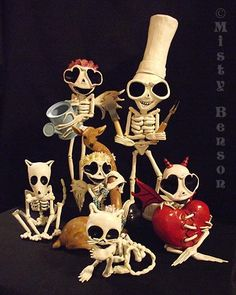 Wow I love these!    ~~  Skeleton sculpture art day of the dead family cat by gossamerfaery, $1200.00