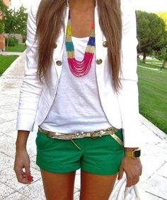 could do this with my blue shorts and black blazer, or my khaki shorts and coral blazer