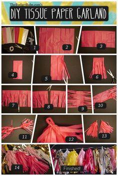 DIY Paper Garland : DIY Tissue Paper Tassel Garland