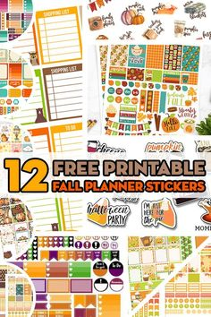 12 FREE Printable Fall Planner Stickers to decorate your planner this autumn: planner stickers weekly kit, monthly kit, checklist stickers, fall bucket list Free Planner, Planner Pages, Happy Planner, Planner Ideas, Planner Layout, Printable Planner Stickers, Free Printables, Schedule Printable, Bujo