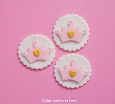 12 Edible Fondant Princess Crown Cupcake Toppers. $16.00, via Etsy.