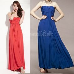 New Women Strapless Dresses Gown Evening Dinner Cocktail Party Sexy Long Maxi Dress $11.70 id probably wear this every day