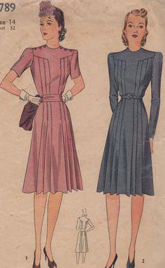 1941 Misses' Dress Simplicity 3789 Size 14 Bust 32