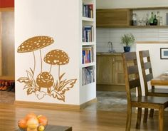 Mushroom Trio Wall Decal Vinyl Art Home Decor by Style and Apply Decorating Your Home, Interior Decorating, Decorating Ideas, Decor Ideas, Wall Decor Design, Wall Tattoo, Vinyl Wall Decals, Wall Sticker, Simple House