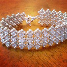 Silver crystal bridal cuff bracelet bridal by AmyKanarekDesigns
