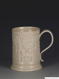 Staffordshire Salt-Glazed White Stoneware Mug, Available for sale. Types Of Ceramics, English Pottery, Chinese Landscape, Stoneware Mugs, Wood Bridge, Mold Making, Chinoiserie, The Hamptons, Glaze