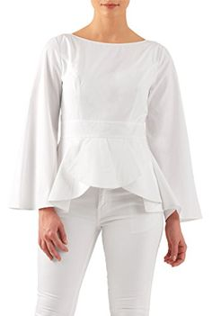 eShakti Womens Bell sleeve poplin peplum top 2X22W Tall White -- See this great product.Note:It is affiliate link to Amazon.