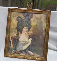 Beautiful Vintage/Antique Victorian Lady Print & Gorgeous Frame 10 x 12 LJS Mfg