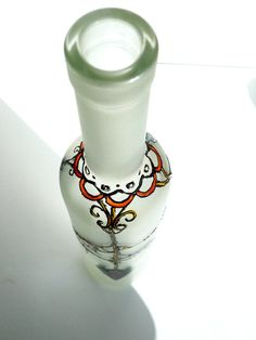 Hand Painted Glass Bottle With Crystal Flowers by Anumvella