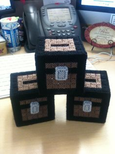Minecraft chest banks made for the boys - My pattern