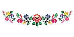 Hungarian Embroidery Patterns A beautiful hungarian Kalocsai floral pattern. Hungarian Embroidery, Learn Embroidery, Crewel Embroidery, Ribbon Embroidery, Machine Embroidery, Bordado Popular, Embroidery Designs, Embroidery Kits, Chain Stitch Embroidery