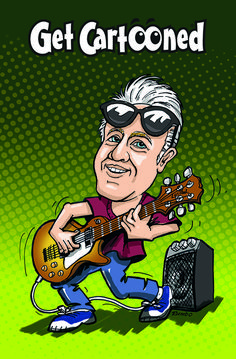 Never too old to be a rockstar. Get your partner immortalised in caricature strutting the stage with his or her instrument of choice. East Street, The Struts, Caricature, Creative Design, Stage, Branding, Cartoon, Brand Management, Caricatures