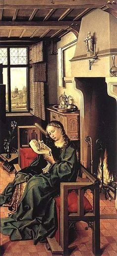 St. Barbara by Robert Campin from the Merode Altarpiece 1425-28   Campin's settle, in this picture, has a back rail on hinges, so that it can be swung across, allowing people to sit facing the fire. In the background is an ornate carved dressoir and a folding x frame stool. The top lights of the window are glazed with small clear panes, while the lower part has only shutters. Pear Tree Miniatures Gallery
