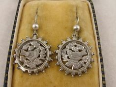 Antique Victorian Silver Cut-Out Bird Disc Earrings from blackwicks on Ruby Lane