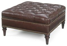 Oxford Tufted Square Leather Ottoman - traditional - ottomans and cubes - charlotte - clubfurniture