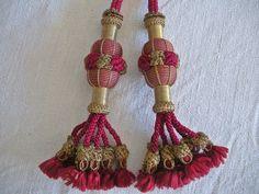 Delicious Rare Antique Silk & Metallic Tassels ~Very Decorative~