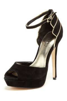 Charles by Charles David Surrender Peep Toe Pump in black suede with gold trim; also comes in red suede
