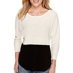 jcp | a.n.a® 3/4-Sleeve Colorblock Textured Sweater