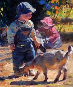 Boy With Dog Playing Canvas Prints love the application of paint Cheap Canvas Prints, Creatures, Portrait, Dogs, Paintings, Watercolors, Art, Life, Beauty
