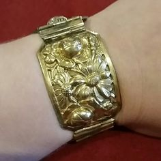 "Antique Edwardian Vintage gold Vermille bracelet 9/7/15 host pick! Antique Edwardian art nouveau Vintage gold Vermille floral panel bracelet.  Beautiful and bold. Snug clasp and safety chain. Measures 7.5"" closed. Negotiable. Vintage Jewelry Bracelets"