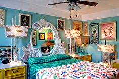 Teal blue and yellow bedding
