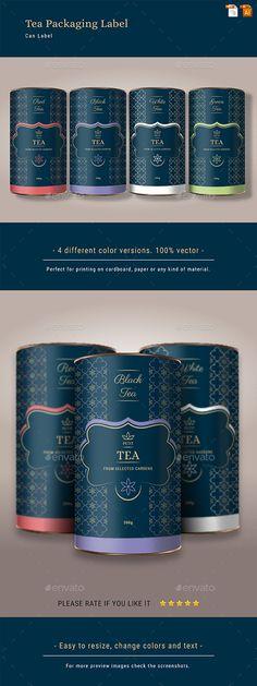 Tea Packaging Label Design Template Vector EPS, AI Illustrator