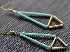 Upside down diamond shaped earrings, mint + gold
