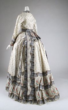 Morning dress, 1870's US, the Met Museum    The ruffles are actually printed onto the fabric.