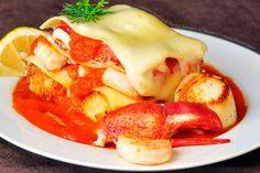 Lobster, Scallop, & Shrimp Lasagna w/ Roasted Tomato Fennel Sauce