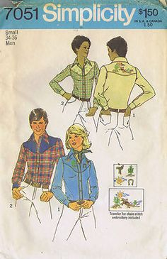 Vintage Western Shirt Unisex Sewing Pattern 70s Simplicity 7051 Bust 34 36 Cut | eBay
