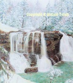 how to draw a realistic waterfall